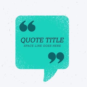 Blauw praatjebel met aanhalingsteken en ruimte voor uw tekst