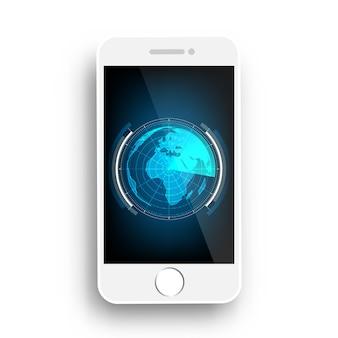 Blauw radaraftasten op vector van het mobiele telefoon de abstracte ontwerp