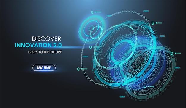 Blauw radarscherm. hud hi-tech futuristisch display.