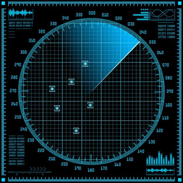 Blauw radarscherm. hud-interface.