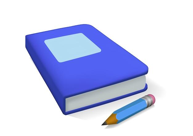 Blauw realistisch boek en potlood dat op witte achtergrond wordt geïsoleerd