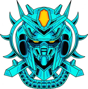 Blauw robot hoofd mascotte logo