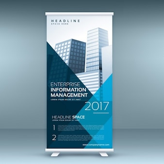 Blauw roll up display banner mockup template