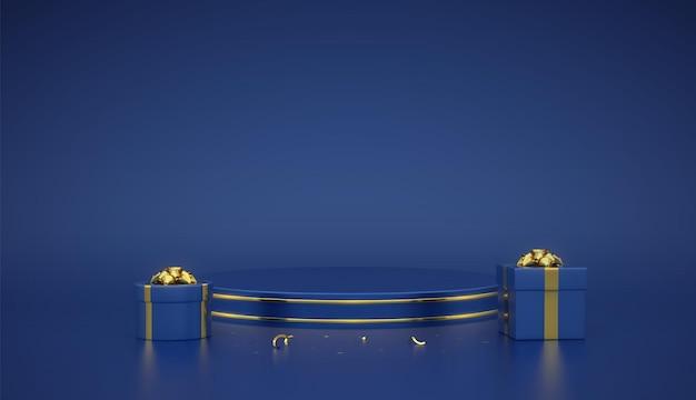 Blauw rond podium. scène en 3d-platform met gouden cirkel op blauwe achtergrond. leeg voetstuk met geschenkdozen met gouden strik en confetti. reclame, prijsontwerp. realistische vectorillustratie.