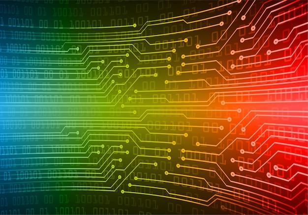 Blauw rood cyber circuit toekomstige technologie concept achtergrond