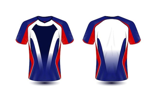 Blauw rood en zwart lay-out e-sport t-shirt ontwerpsjabloon