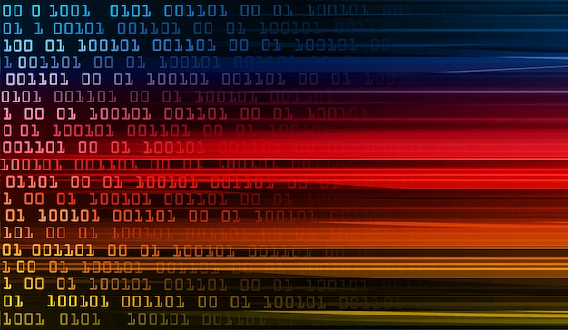 Blauw rood geel binaire cyber circuit toekomstige technologie concept achtergrond