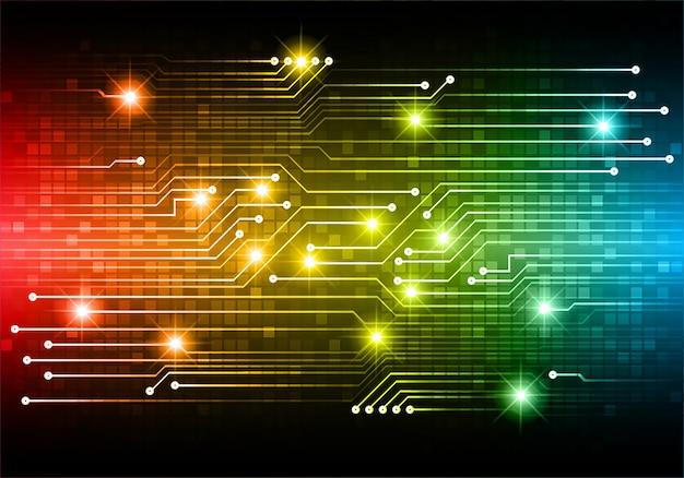 Blauw rood geel cyber circuit toekomstige technologie concept achtergrond