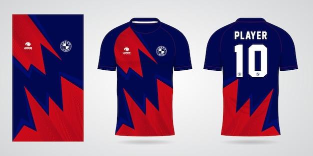 Blauw rood sportshirt sjabloon voor teamuniformen en voetbal t-shirtontwerp