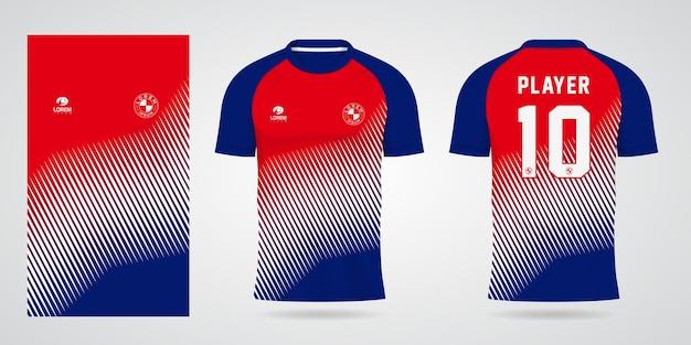 Blauw rood wit sportjersey sjabloon voor teamuniformen en voetbal t-shirtontwerp