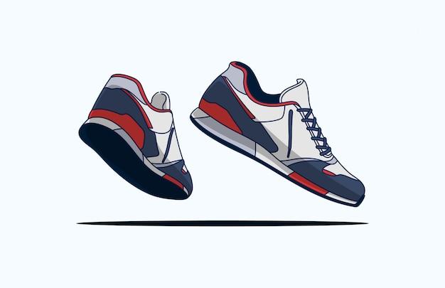 Blauw rood witte sneakers
