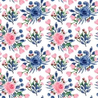 Blauw roze bloemen aquarel naadloos patroon