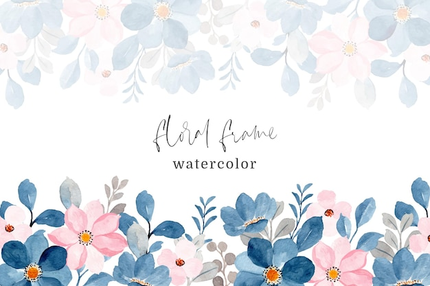 Blauw roze bloemen frame met waterverf