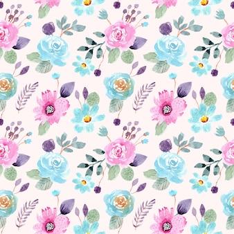 Blauw roze bloemenwaterverf naadloos patroon