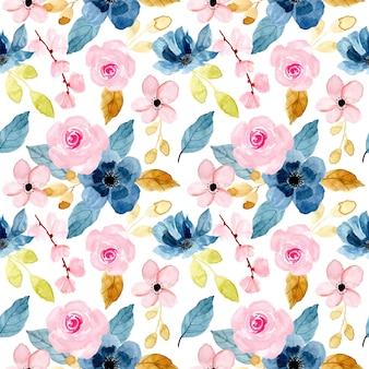 Blauw roze bloempatroon met waterverf