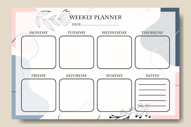 Blauw roze pastel vorm wekelijkse planner sjabloon premium vector