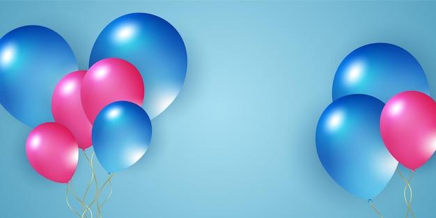 Blauw roze witte ballonnen confetti concept ontwerpsjabloon vakantie happy day achtergrond viering v...