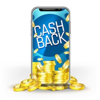 Blauw scherm mobiele telefoon met een set van gouden munten ang cashback. sjabloon voor layout bank, game, mobiel netwerk of technologie, bonussen voor jackpot