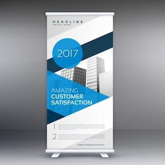 Blauw scherm roll up banner reclameaffiche