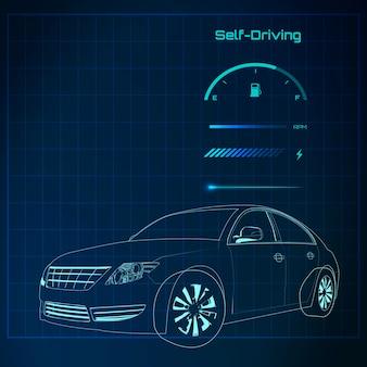 Blauw sedan auto-ontwerp