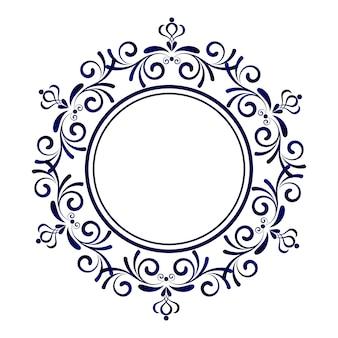 Blauw sierkader, decoratieve ronde, abstracte bloemenornamentgrens