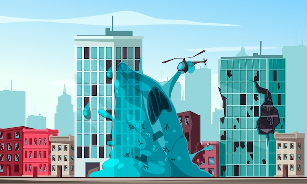 Blauw slijm buitenaards wezen aanvallende stad en houden helikopter cartoon afbeelding