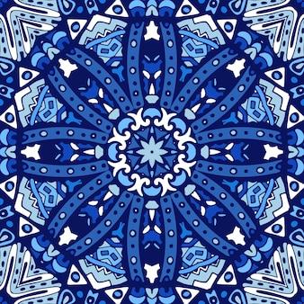 Blauw snoflake winterdecor betegeld etnisch patroon voor stof