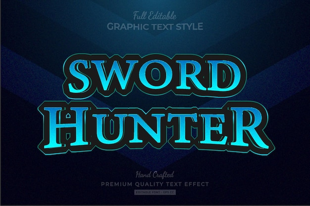 Blauw speltitel fantasie rpg bewerkbaar premium teksteffect lettertypestijl