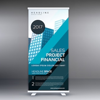 Blauw standee roll up banner design concept voor business marketing en presentatie