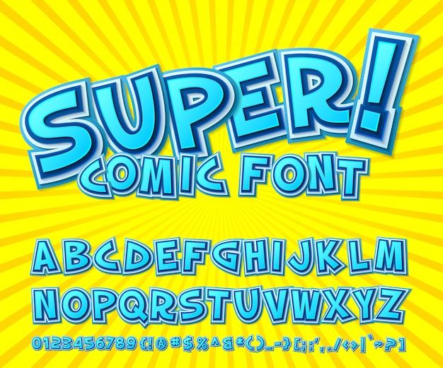 Blauw strip lettertype. meerlagig cartoonesk alfabet in pop-artstijl op gele achtergrond.
