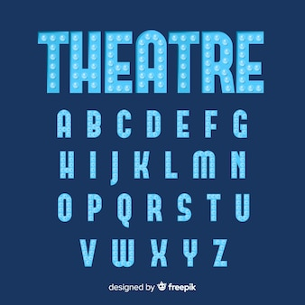 Blauw theater gloeilamp alfabet
