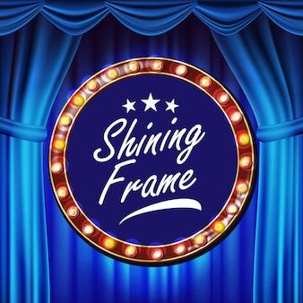 Blauw theatergordijn met gouden kadervector. blauw achtergrond en gloeilampenframe. realistische retro design board