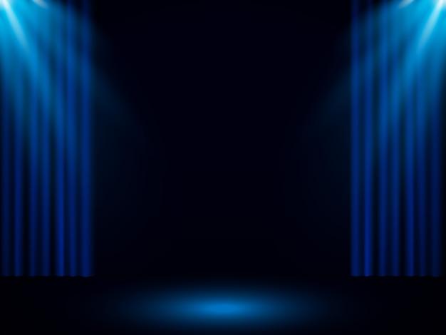 Blauw toneelgordijn met schijnwerper