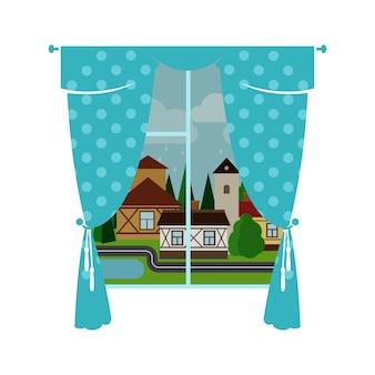 Blauw venstergordijn en regenachtige stad