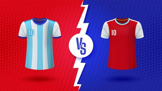 Blauw versus vs banner voor voetbalcompetitie