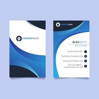 Blauw verticaal visitekaartje