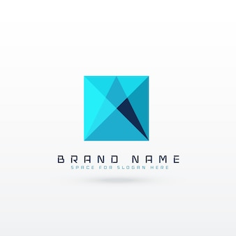 Blauw vierkant abstract logo conceptontwerp