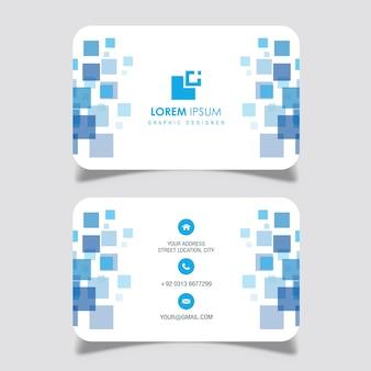 Blauw vierkant ontwerp visitekaartje