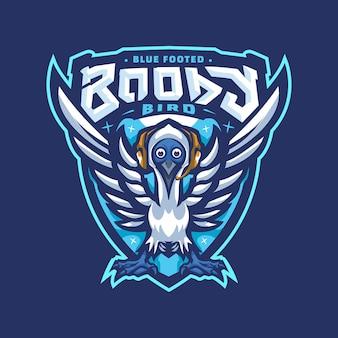 Blauw vogelmascot logo