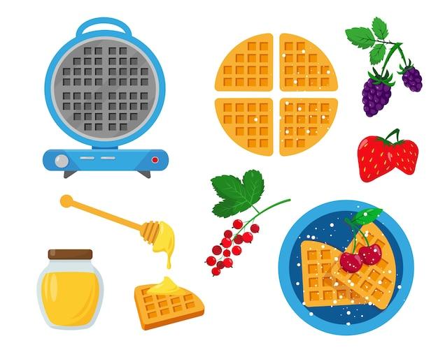 Blauw wafelijzer met wafels, bessen en honing voor serveren en decoreren.