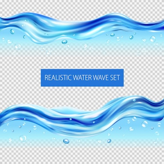 Blauw water golven en druppels realistische set geïsoleerd