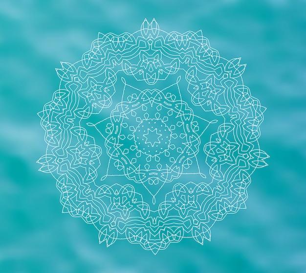 Blauw water met witte mandala