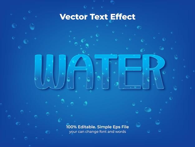 Blauw water teksteffect Premium Vector