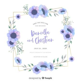 Blauw waterverf bloemenframe op huwelijksuitnodiging