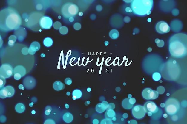 Blauw wazig gelukkig nieuw jaar 2021