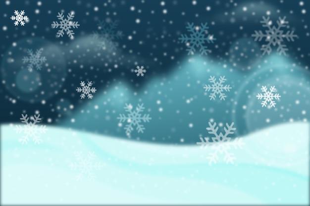 Blauw wazig winterbehang
