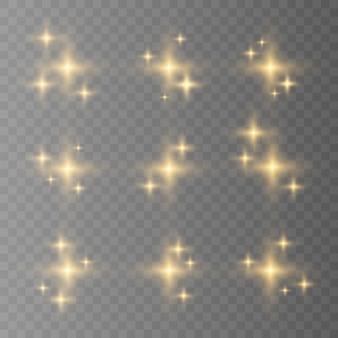 Blauw, wit, goud, oranje schittert symbolen vector. de set van originele vector sterren schitteren pictogram. helder vuurwerk, fonkelende decoratie, glanzende flits. Premium Vector