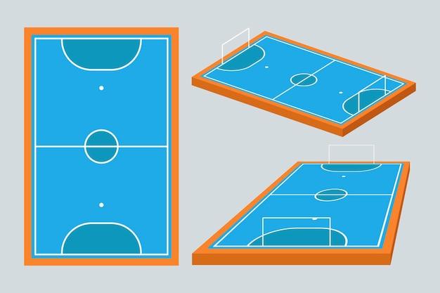 Blauw zaalvoetbalveld in verschillende perspectieven