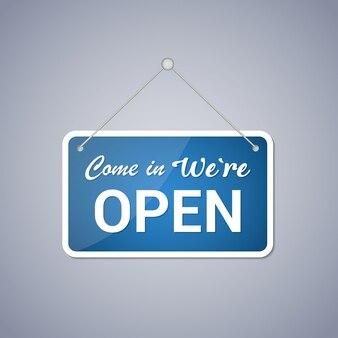 Blauw zakelijk bord met de tekst 'come in, i'm open' met schaduw