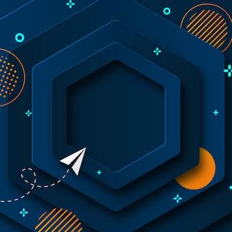 Blauw zeshoek papier gesneden abstracte achtergrond